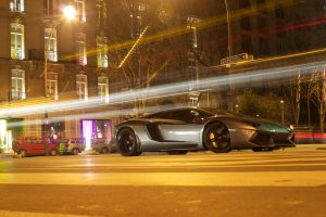 Lamborghini Aventador in Paris with light effects