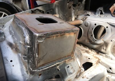 E87 rally car strut tower welded