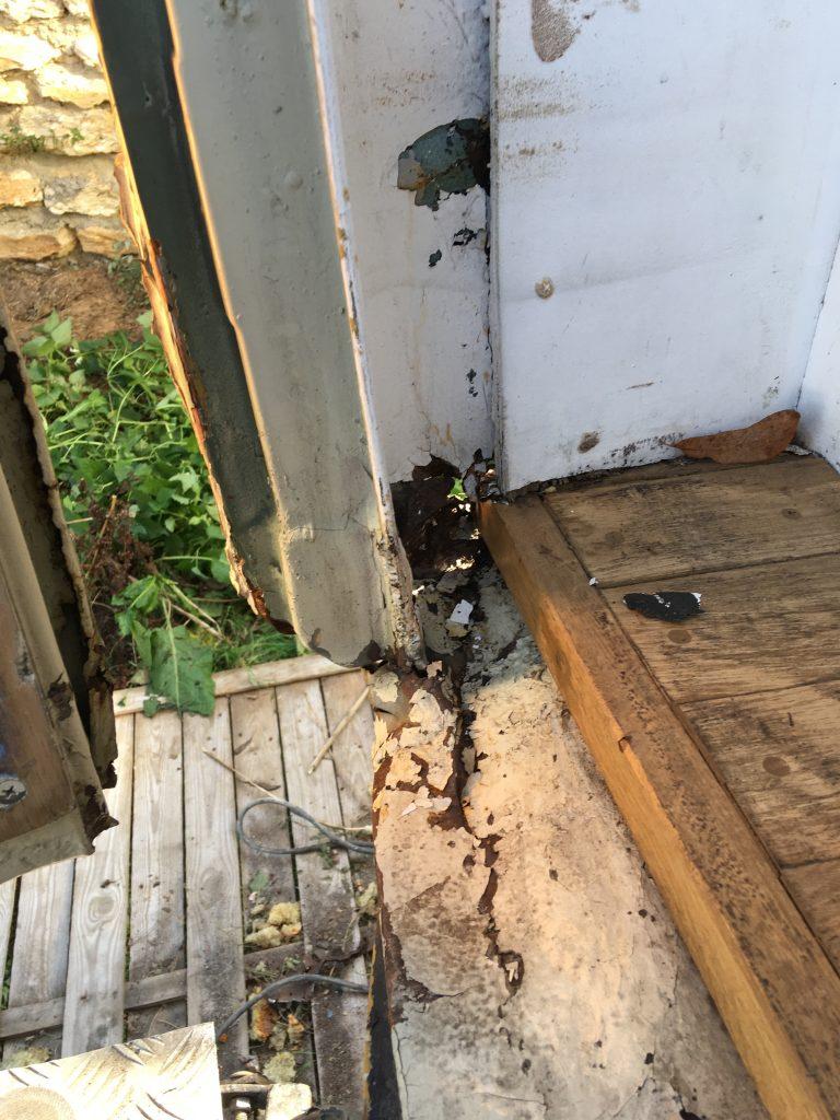 Damage inside the van