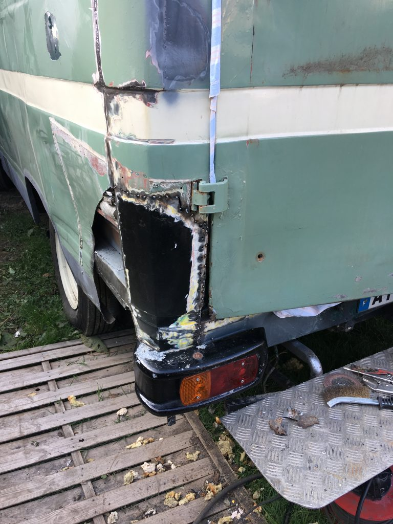 New panel welded in place, and bumper fitted.