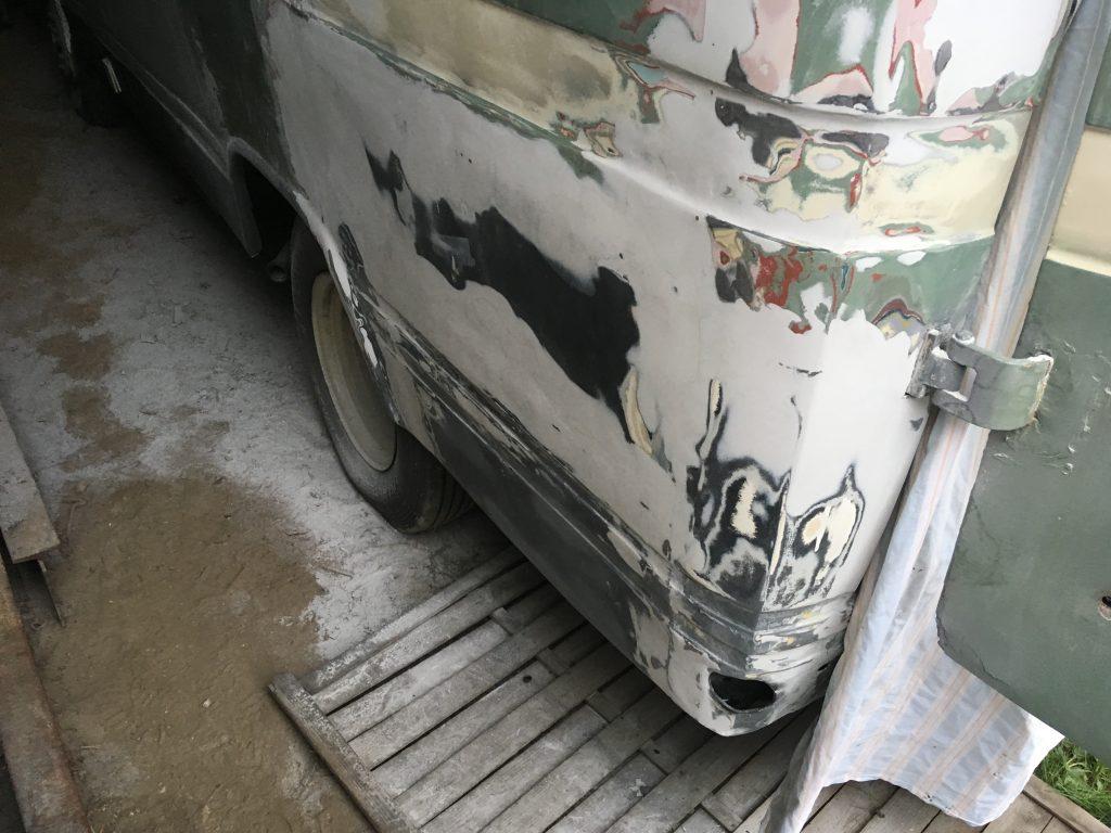 Rear of the van in body filler
